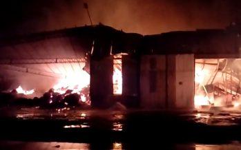 Avellaneda: espectacular incendio en la planta de la algodonera Vicentín (IMÁGENES)