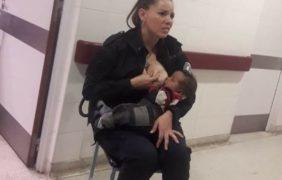 La imagen viral de una mujer policía que amamantó a un bebé internado